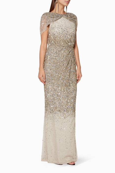 Metallic Beaded Idalia Gown