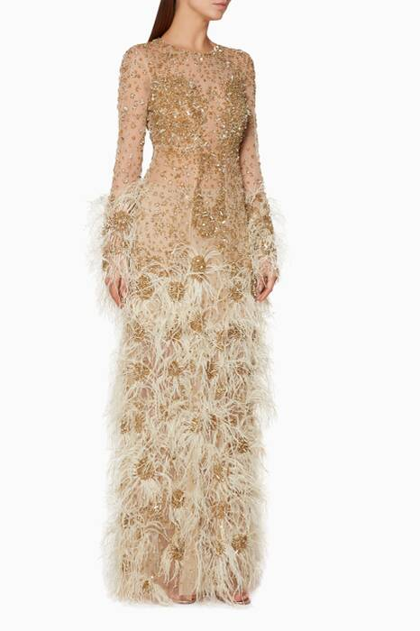 Gold Feather-Detail Eris Sleeve Gown