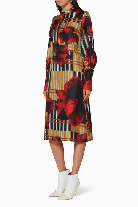 Multi-Coloured Printed Midi Dress