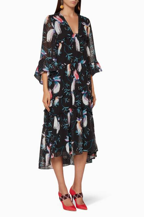 Black Printed Iris Midi Dress