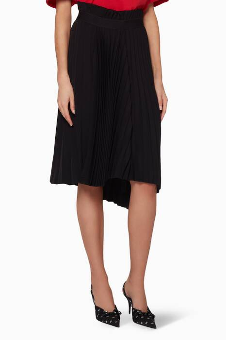 Black Pleated Logo Crepe Skirt