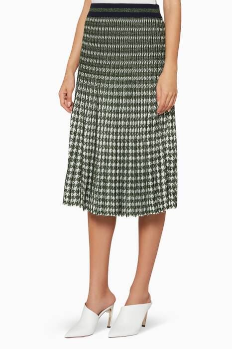 Green Pleated Cyrilla Midi Skirt
