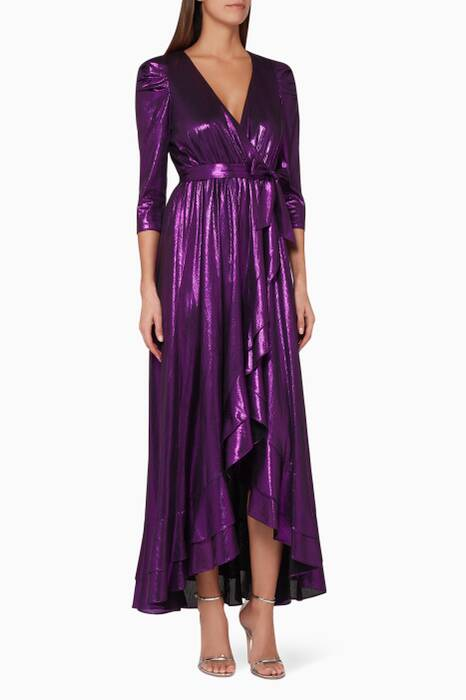 Purple Flora Wrap Dress