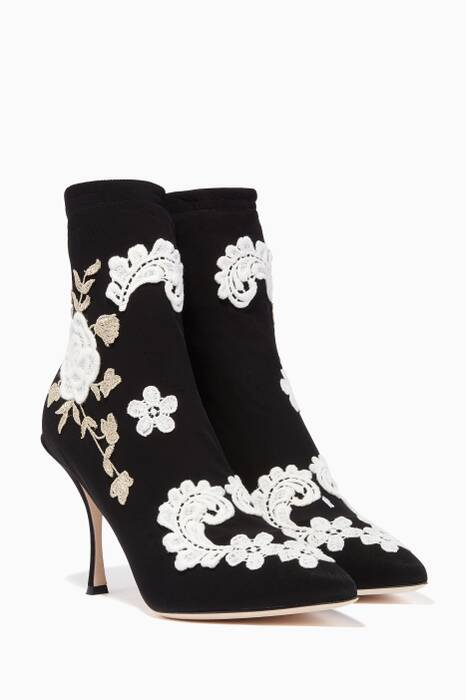 Black Lori Macramé-Embroidered Sock Boots