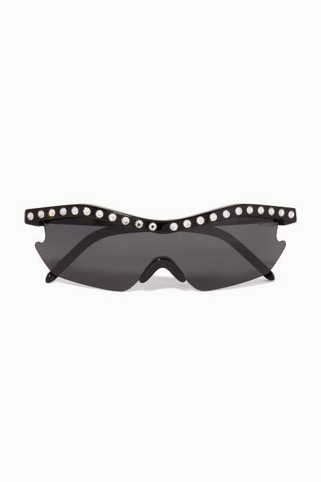 Black Embellished Alcatraz 200 Sunglasses