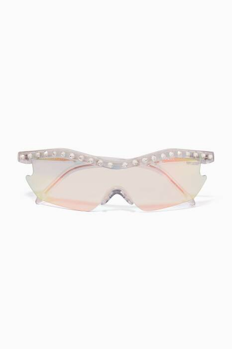 Iridescent-Clear Embellished Alcatraz 200 Sunglasses