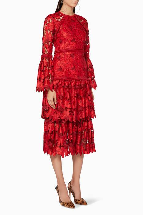 Red Scarlet Floral-Lace Dress