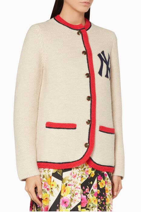 Ivory NY Yankees™ Patch Cardigan