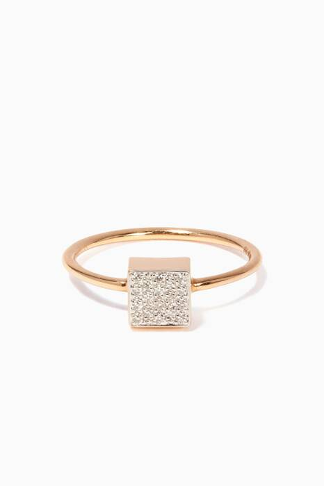 Rose-Gold & Baby Diamond Ever Square Ring