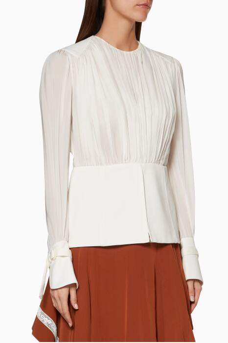 White Silk Draped Shirt
