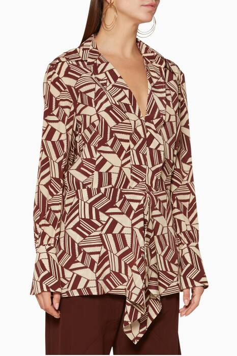 Brown & Beige Geometric-Print Blouse