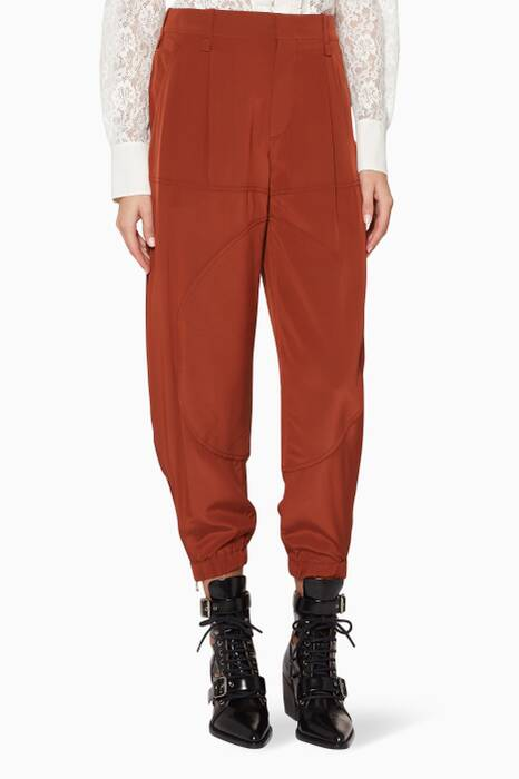 Wildwood-Brown Silk Pants