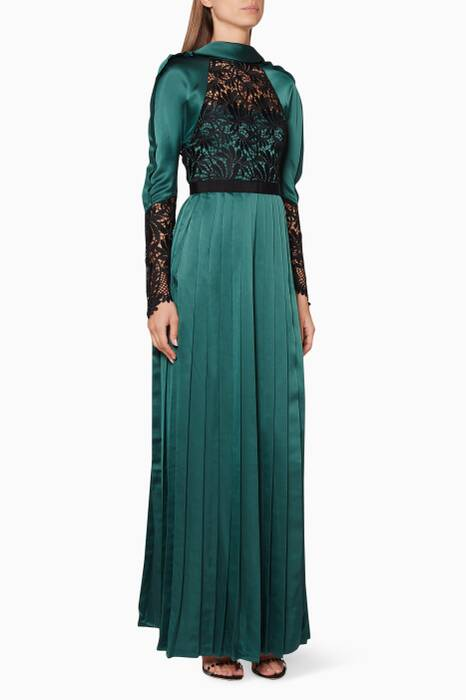 Emerald-Green Pleated Lace Maxi Dress