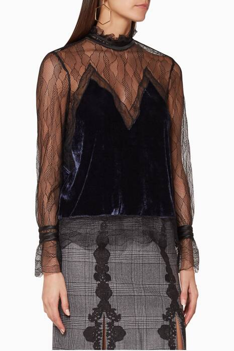 Black Lace Velvet Mockneck Blouse