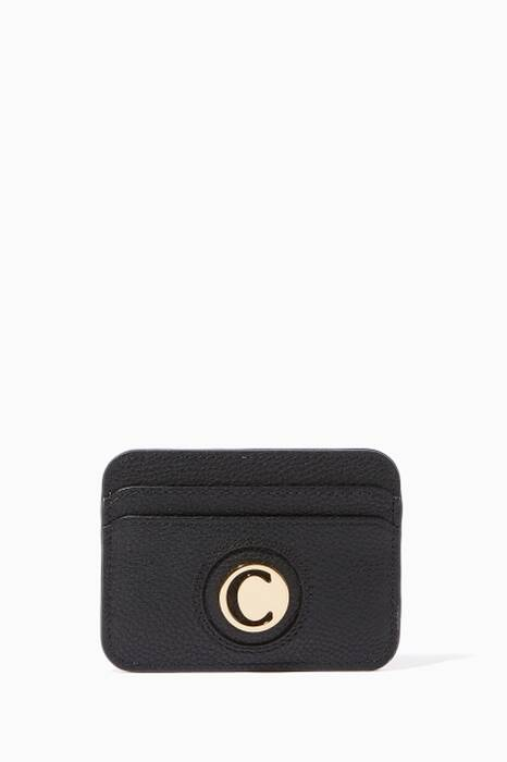 Black C Logo Leather Cardholder