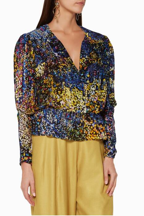 Multi-Coloured Marianne Velvet Peplum Top