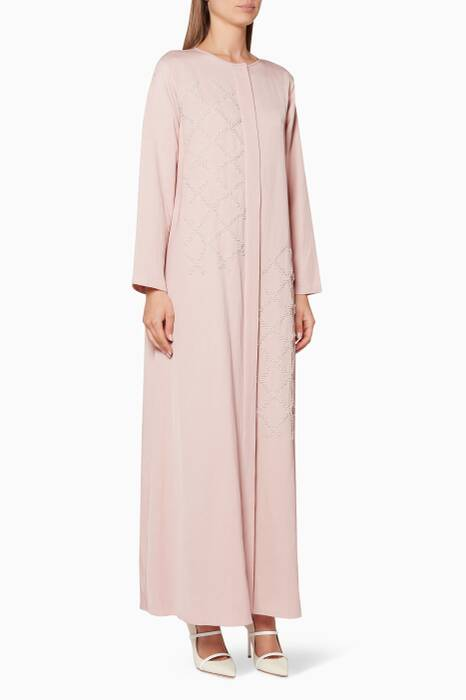 Light-Pink Pearl-Embellished Kaftan