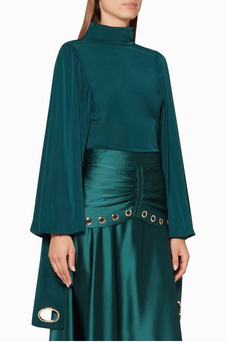 Emerald-Green Jersey Sleeve Top