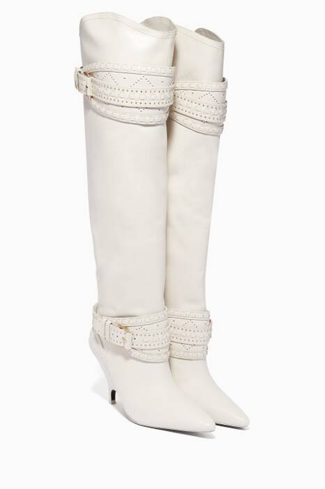 White Leather Point-Toe Slouch Knee Boots