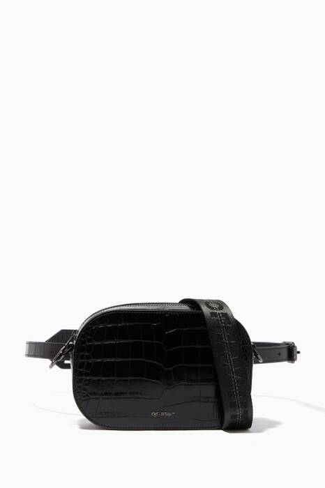 Black Coco Crocodile-Embossed Flap Bag