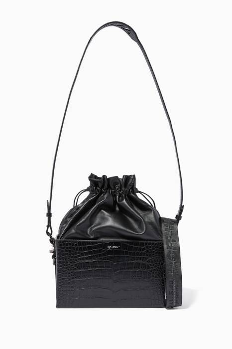 Black Crocodile-Embossed Soft Boxy Cocco Bag
