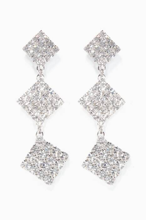 Silver Crystal-Embellished Drop Earrings