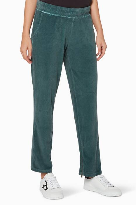 Green Velour Track Pants