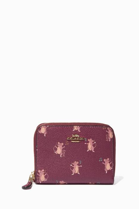 Dark Berry Mouse-Print Small Zip Wallet