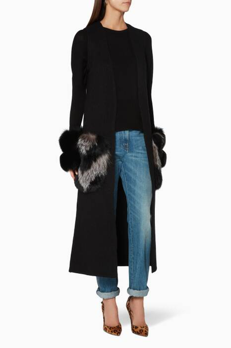 Black Fur-Pocket Gilet