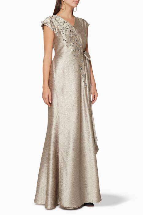 Gold Embroidered Wrap Gown