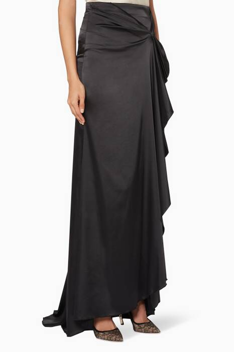 Black Draped Bril Maxi Skirt