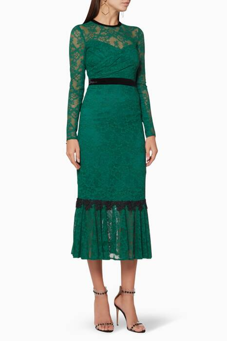 Green Velvet & Lace Ursula Dress