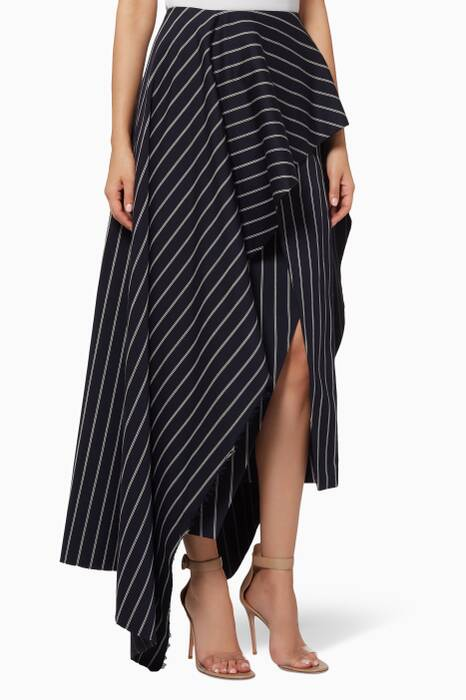 Navy Striped Diem Midi Skirt