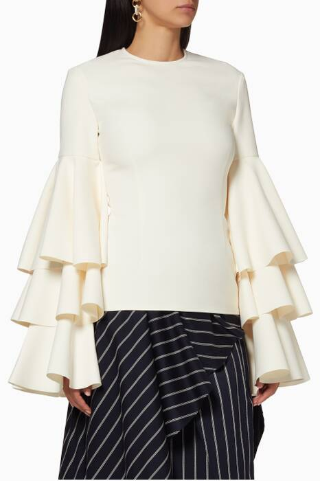 Cream Ruffled Ruba Top