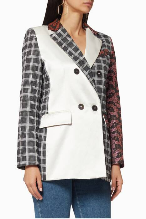 Ivory Check & Patchwork Jacket