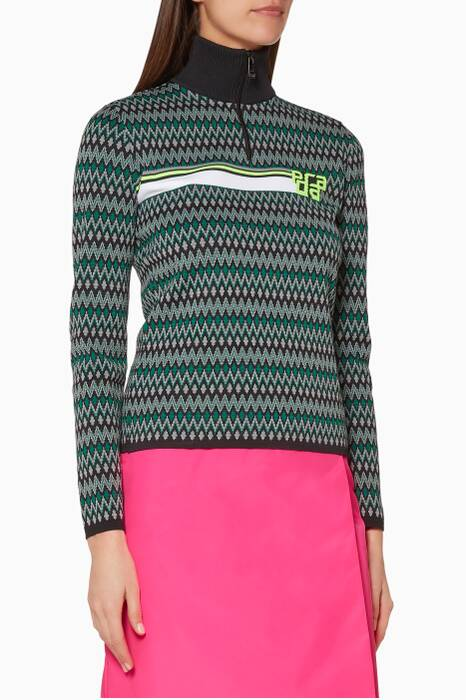 Grey & Green Turtle Neck Sweater
