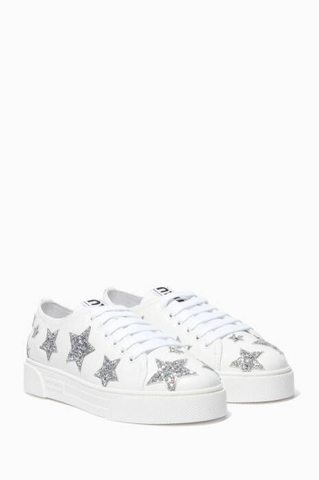 White Glitter Star Sneakers