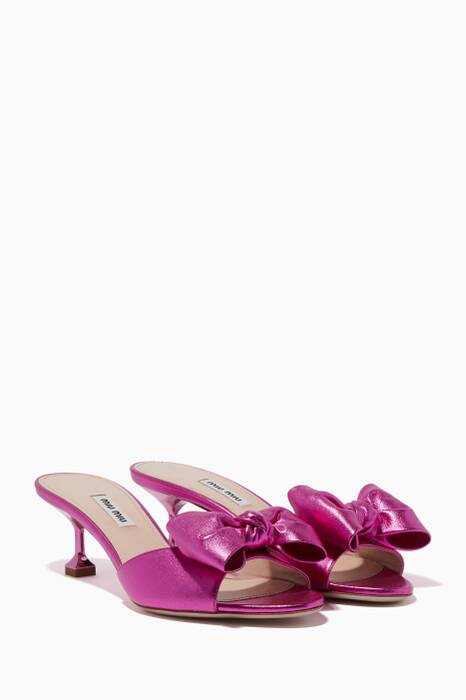Fuchsia Leather Bow Mules