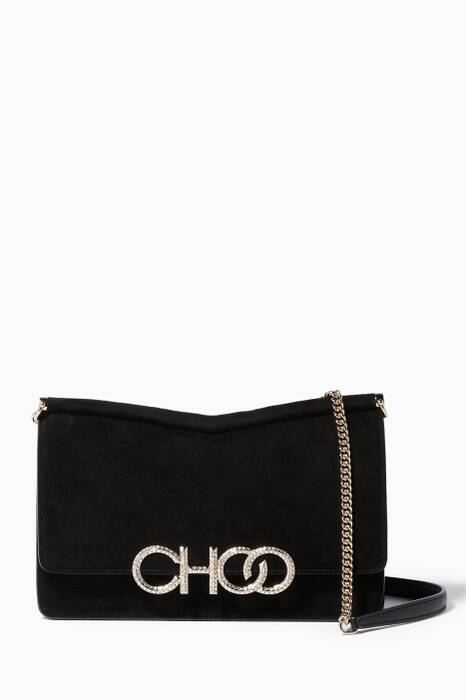 Black Suede Sidney M Cross-Body Bag