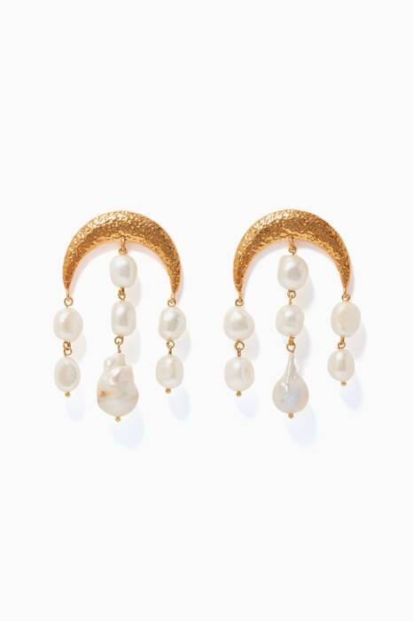 Gold Pearl-Embellished Estelle Earrings