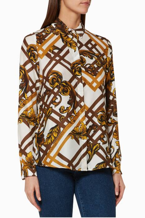 White & Yellow Printed Lady Shirt