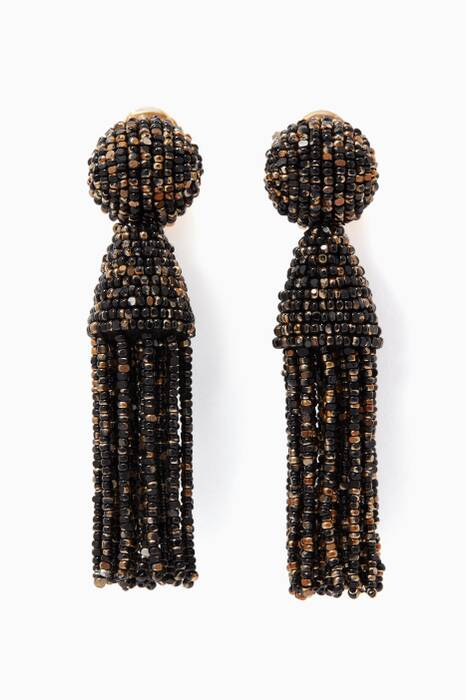 Black & Gold Short Beaded Tassel Earrings