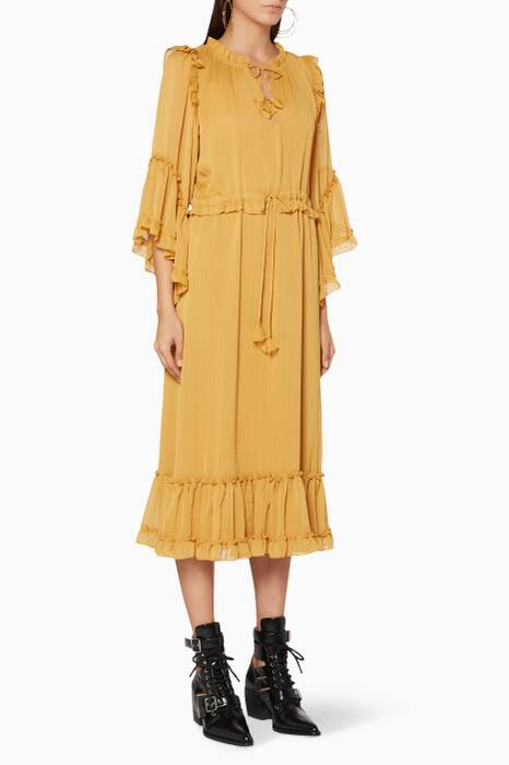 Mustard-Yellow Ruffled Beliz Dress