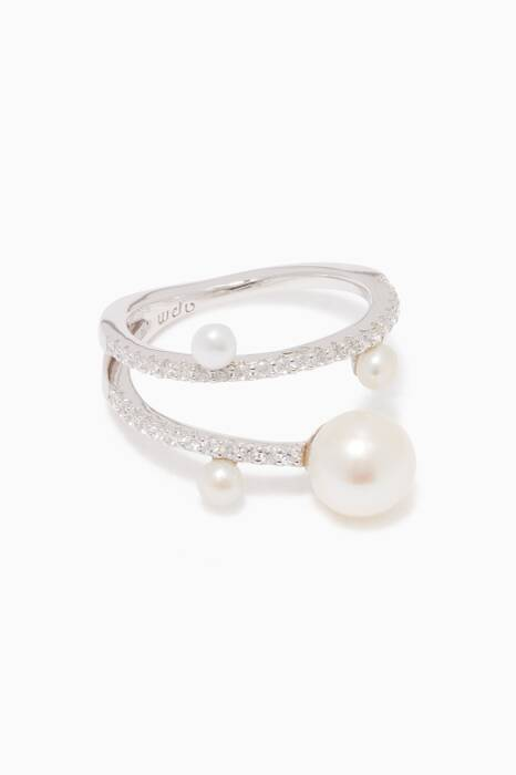 Silver Embellished Pearl Ring