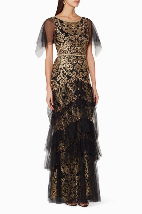 Black & Gold Metallic Tiered Gown