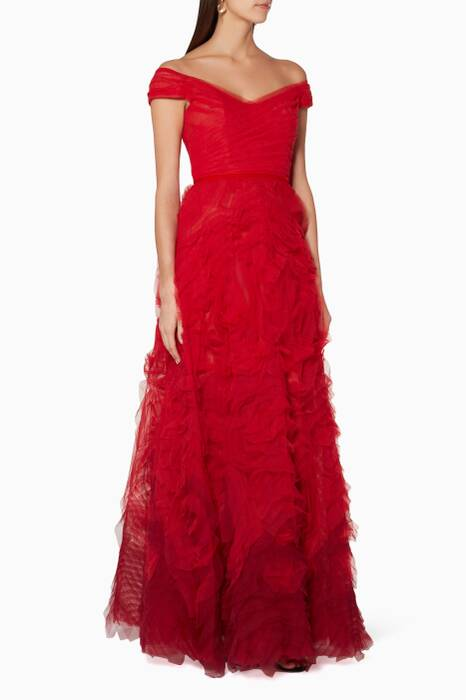 Red Off-The-Shoulder Ombré Gown