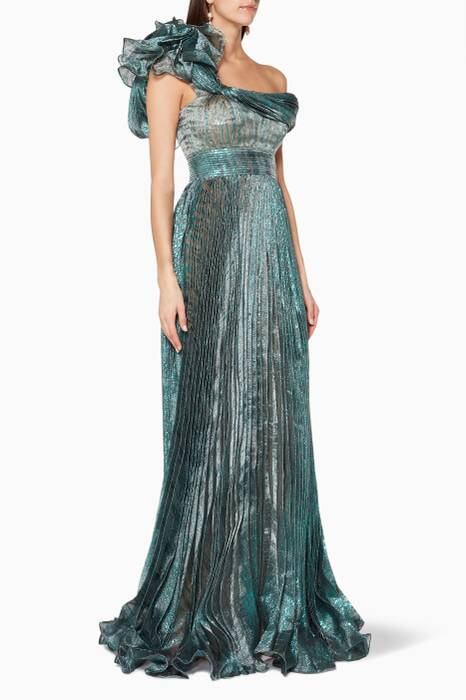 Dark-Green Sheer Pleated Maxi Dress