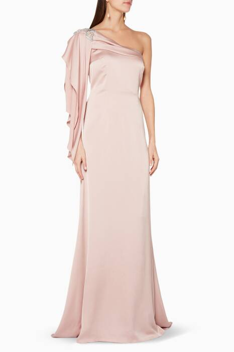 Light-Pink Crystal Embellished One-Shoulder Gown