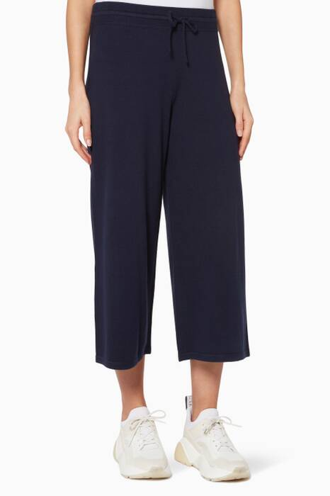 Navy Cropped Wide-Leg Pants