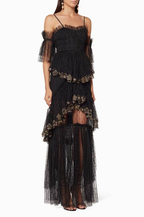 Black Embroidered Stillness Gown